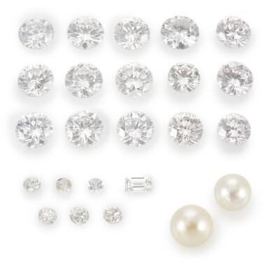 COLLECTION OF LOOSE DIAMONDS AND TWO CULTURED PEARLS (COLLEZIONE DI DIAMANTI SCIOLTI E DUE PERLE)