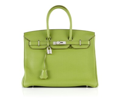 View 1. Thumbnail of Lot 10. BIRKIN 35 VERT ANIS COLOUR IN TOGO LEATHER WITH PALLADIUM HARDWARE. HERMÈS, 2011 .