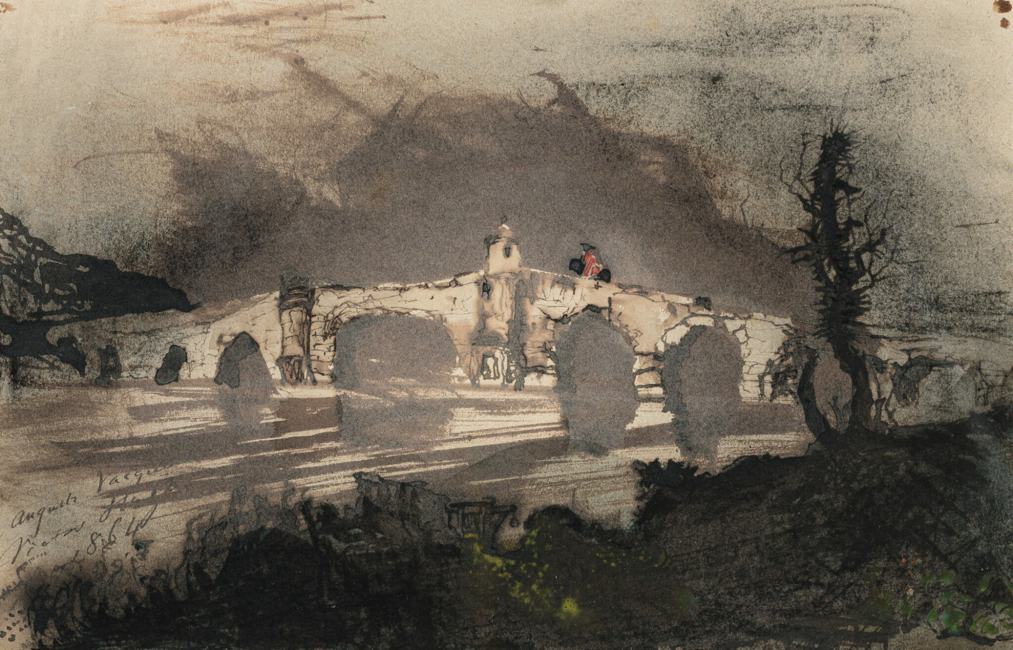 View full screen - View 1 of Lot 117. VICTOR-MARIE HUGO | A BRIDGE IN SPAIN, ALSO CALLED THE MOORISH BRIDGE.