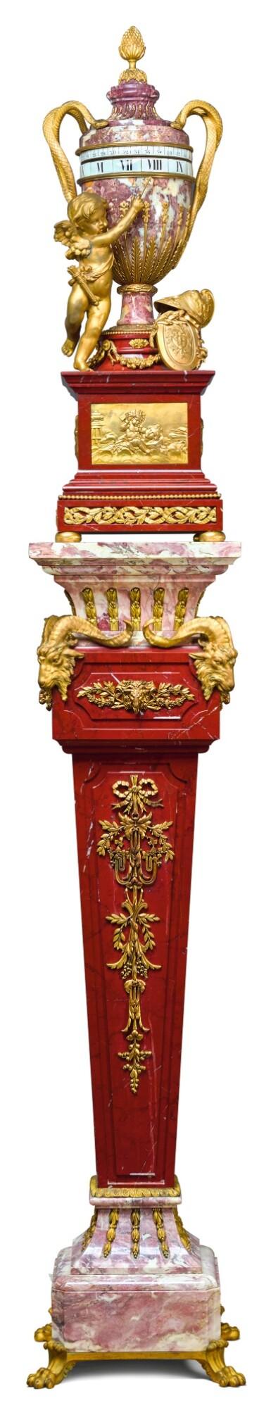 A LOUIS XVI-STYLE GILT-BRONZE MOUNTED MARBLE 'CERCLES TOURNANTS' PEDESTAL CLOCK , CIRCA 1900