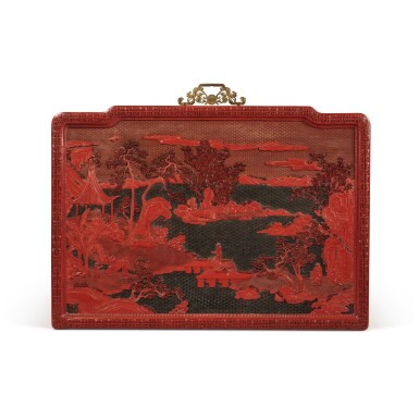 View 2. Thumbnail of Lot 63. An exceptional pair of carved three-color lacquer 'landscape' panels, Qing dynasty, Qianlong period | 清乾隆 剔彩山水高士圖掛屏一對.