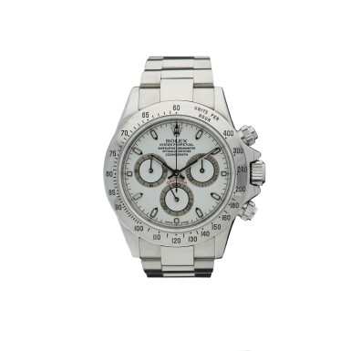 View 1. Thumbnail of Lot 451. ROLEX   REFERENCE 116520 DAYTONA   A STAINLESS STEEL AUTOMATIC CHRONOGRAPH WRISTWATCH WITH REGISTERS AND BRACELET, CIRCA 2000.