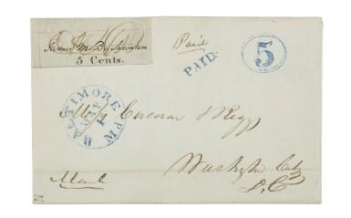 Postmaster's Provisional, Baltimore, MD. 1845 5c Black on bluish (3X3)