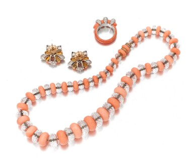 View 3. Thumbnail of Lot 70. CORAL AND DIAMOND RING, SIGNED CARTIER, CORAL AND ROCK CRYSTAL NECKLACE AND PAIR OF EARRINGS  (ANELLO IN CORALLO E DIAMANTI, FIRMATO CARTIER, COLLANA E PAIO DI ORECCHINI IN CORALLO, CRISTALLO DI ROCCA E DIAMANTI).
