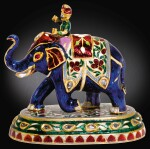 A JEWELLED GOLD AND ENAMEL ELEPHANT AND RIDER, INDIAN, PROBABLY SECOND HALF OF THE 19TH CENTURY