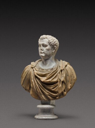 View 3. Thumbnail of Lot 108. A Roman Marble Portrait Bust of a Man, the head circa A.D. 80, the shoulders 2nd Century A.D..