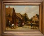 THOMAS VAN APSHOVEN | Peasants playing ball games in a village landscape