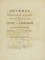 CARTWRIGHT, GEORGE | A Journal of Transactions and Events, During a Residence of Nearly Sixteen Years on the Coast of Labrador.Newark: Allin and Ridge, 1792