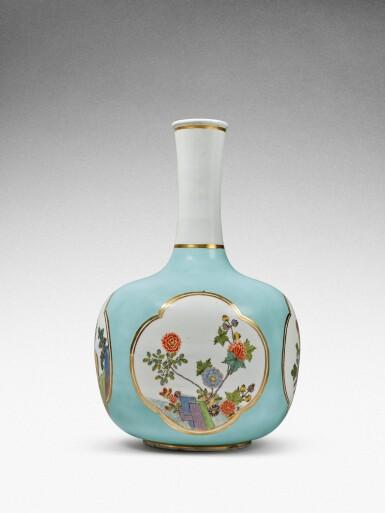 View 4. Thumbnail of Lot 35. A very rare Meissen Augustus Rex large seladon-ground bottle vase, Circa 1735 .