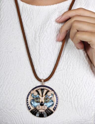 View 5. Thumbnail of Lot 15. Gem set and diamond pendant, 'Cat', Michele della Valle.