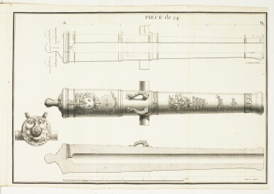 Artillery, 9 French 18th century vol., by Belidor, Le Blond, Diderot, Papacino d'Antoni, Scheel, and others