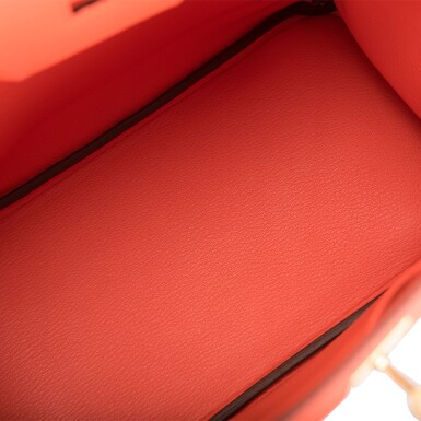 View 8. Thumbnail of Lot 138. Hermès Orange Poppy Birkin 30cm of Togo Leather with Gold Hardware.