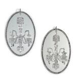 A pair of Irish George III mirror chandeliers, circa 1790, in the manner of John Dederek Ayckboum