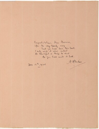 View 1. Thumbnail of Lot 163. MILNE, A. A.  | Winnie-the-Pooh. New York: E. P. Dutton, (1926).