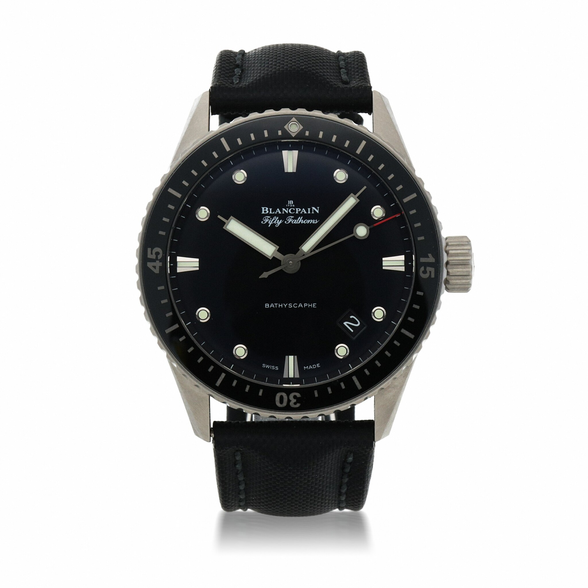 View full screen - View 1 of Lot 923. FIFTY FATHOMS BATHYSCAPHE, REF 5000-1230 TITANIUM WRISTWATCH WITH DATE CIRCA 2017        .