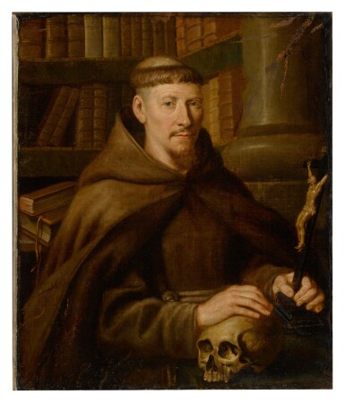 View 2. Thumbnail of Lot 39. Portrait of a Capuchin monk in a library.