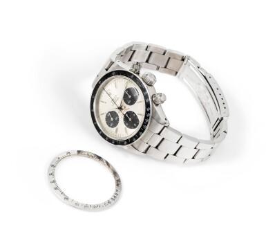 View 3. Thumbnail of Lot 21. Daytona, Ref. 6263    Chronograph bracelet en acier avec bracelet |  Stainless steel chronograph wristwatch with bracelet    Vers 1978 |  Circa 1978.