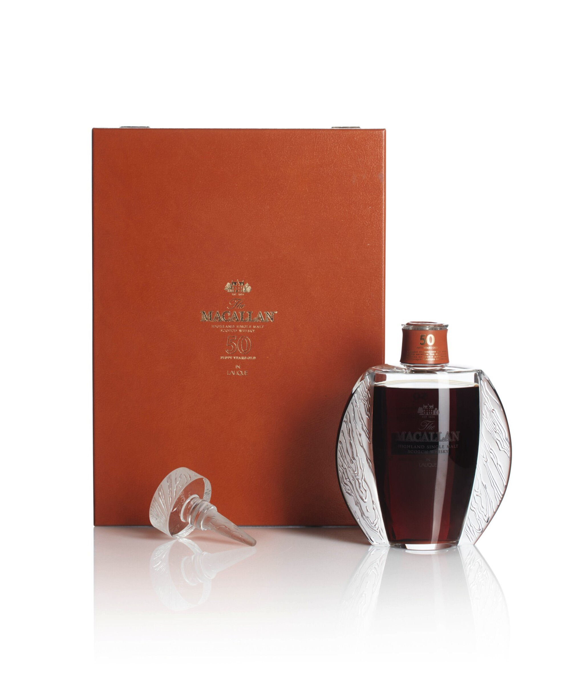 View full screen - View 1 of Lot 13. The Macallan 50 Year Old in Lalique, 6 Pillars, First Edition, 46.0 abv NV (1 BT75cl).