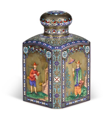 View 1. Thumbnail of Lot 201. A silver, champlevé and en plein pictorial enamel tea caddy, Lyubavin, Moscow, 1884.