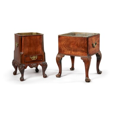 View 1. Thumbnail of Lot 520. A GEORGE II MAHOGANY JARDINIÈRE, 18TH CENTURY, TOGETHER WITH AN ANGLO-DUTCH MAHOGANY JARDINIÈRE, 19TH CENTURY.