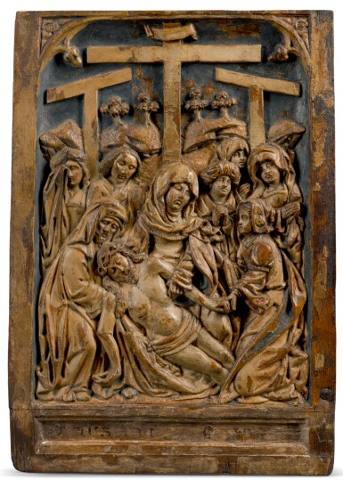 SOUTHERN NETHERLANDISH, EARLY 16TH CENTURY | PAIR OF RELIEFS WITH THE LAMENTATION AND THE RESURRECTION
