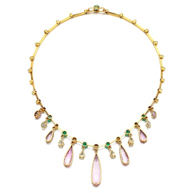 View 3. Thumbnail of Lot 29. Pink topaz, emerald, pearl and diamond necklace, late 19th century.