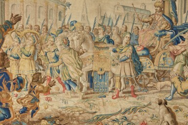 View 2. Thumbnail of Lot 17. A Triumph Classical Tapestry, Northern Netherlands,  third quarter 17th century .