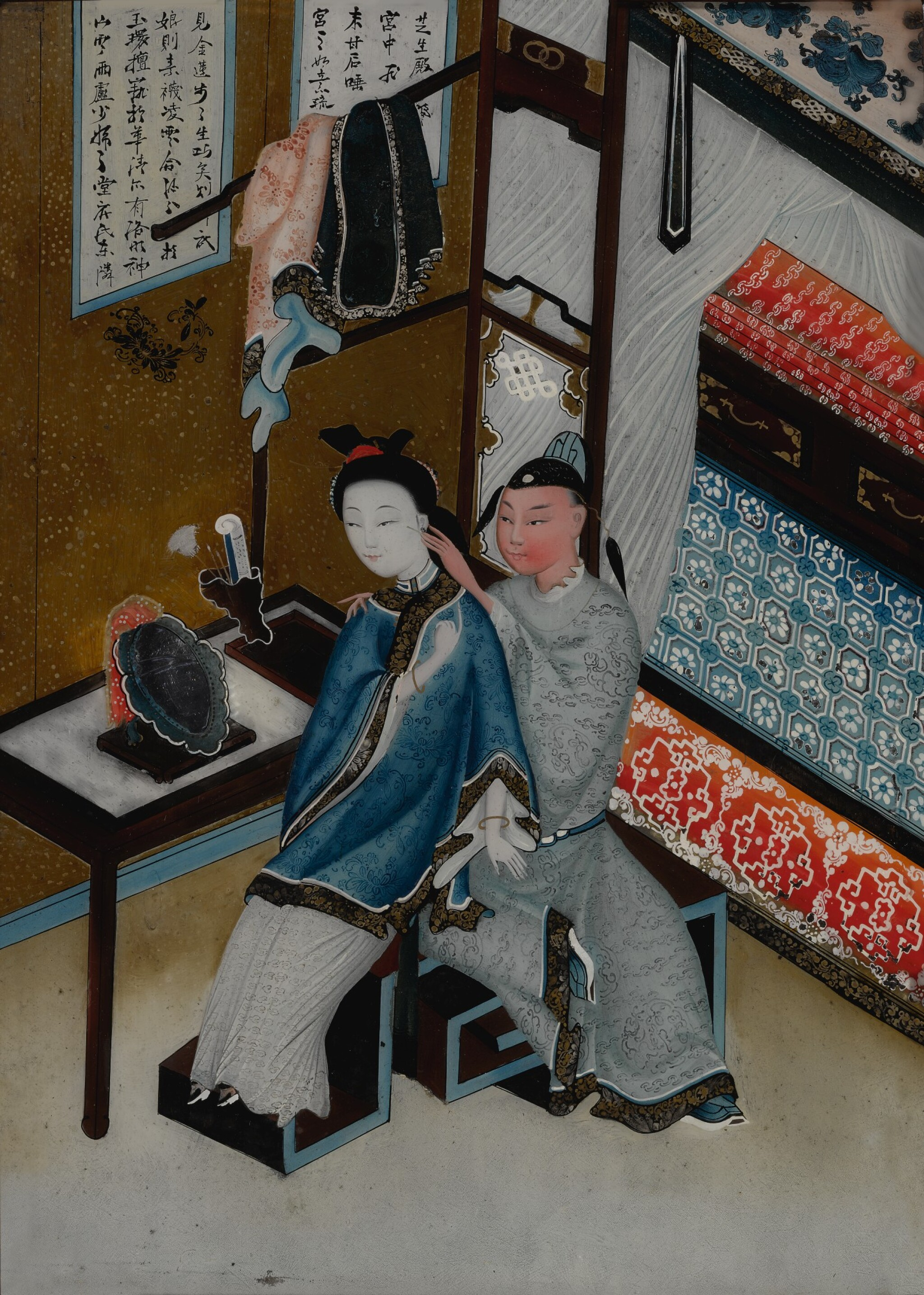 View full screen - View 1 of Lot 1067.  A CHINESE EXPORT REVERSE GLASS PAINTING OF A COUPLE, LATE 19TH / 20TH CENTURY.