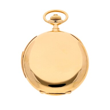 View 3. Thumbnail of Lot 196. A rare and fine gold hunting cased keyless lever watch with alarm  Circa 1919, no. 62977.