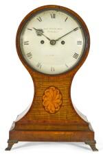 A GEORGE III TULIPWOOD AND HAREWOOD BALLOON TABLE CLOCK, JOHN DWERRYHOUSE, LONDON, CIRCA 1790