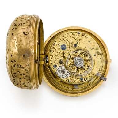 View 2. Thumbnail of Lot 300. JOHN ELLICOTT | A GOLD PAIR CASED REPOUSSE QUARTER REPEATING WATCH, CIRCA 1750.