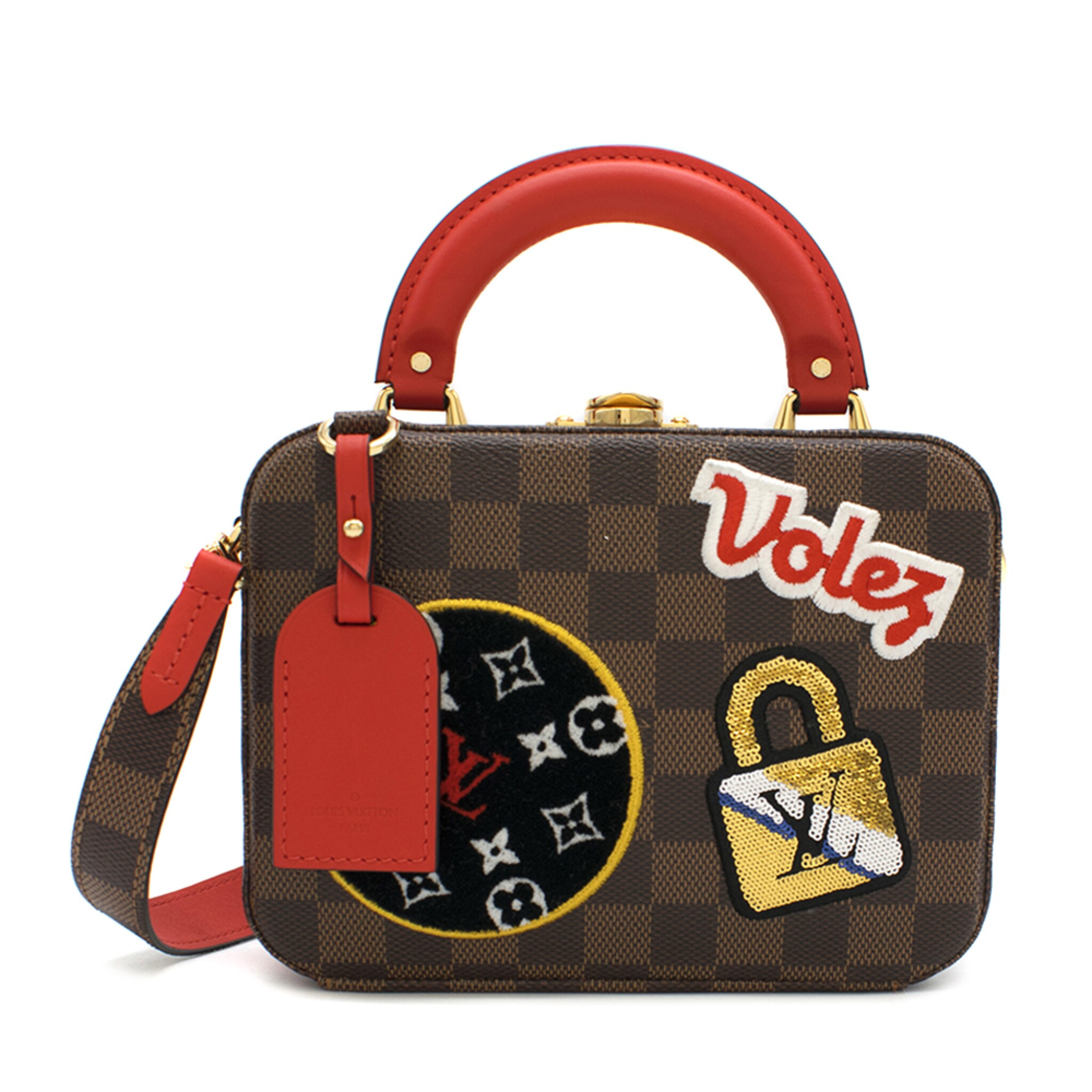 View full screen - View 1 of Lot 160. Stories Box Damier Ebène Colour coated canvas and red cowhide leather trim with sequin, velour & embroidered patches. Louis Vuitton. Cruise Collection 2018..