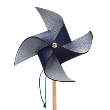 Hermès Bleu Sapphire and Bleu Lin Petit H Pinwheel (Windmill) of Epsom and Togo Leathers
