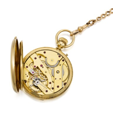 View 4. Thumbnail of Lot 201. YELLOW GOLD HALF HUNTING CASED KEYLESS WATCH NO. 4969, MADE IN 1866.