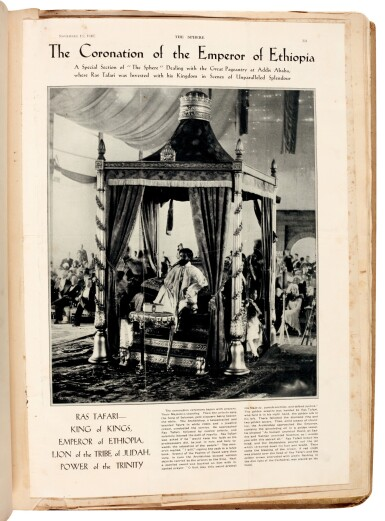 View 4. Thumbnail of Lot 157. Ethiopia | Album of photographs and press cuttings relating to the Coronation of Haile Selassie, November 1930.