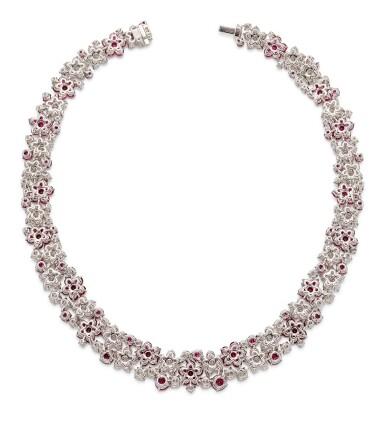 View 4. Thumbnail of Lot 1019. Ruby and Diamond Necklace | 格拉夫| 紅寶石 配 鑽石 項鏈 (紅寶石及鑽石共重約46.50及50.30克拉).