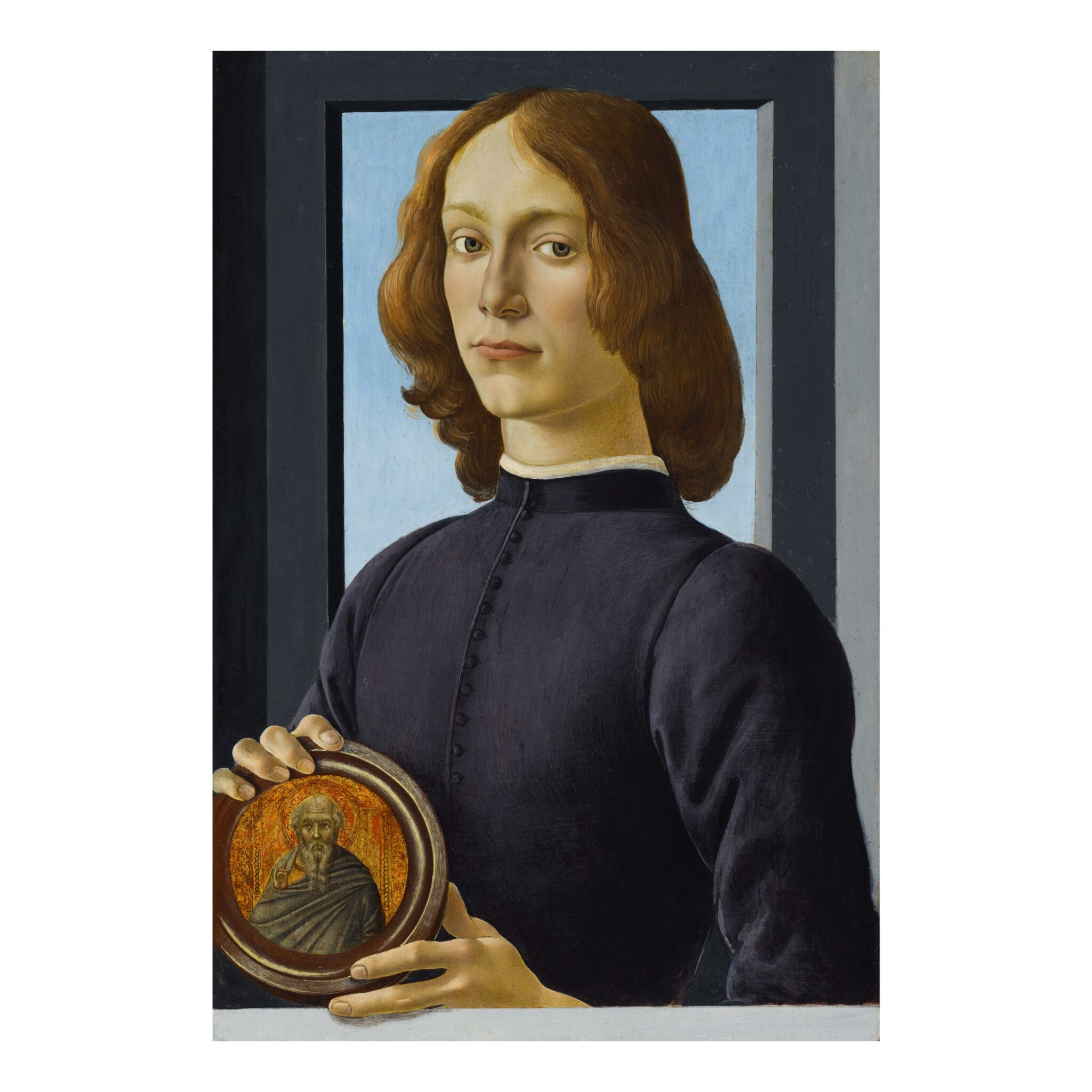 View 1 of Lot 15. Portrait of a young man holding a roundel.
