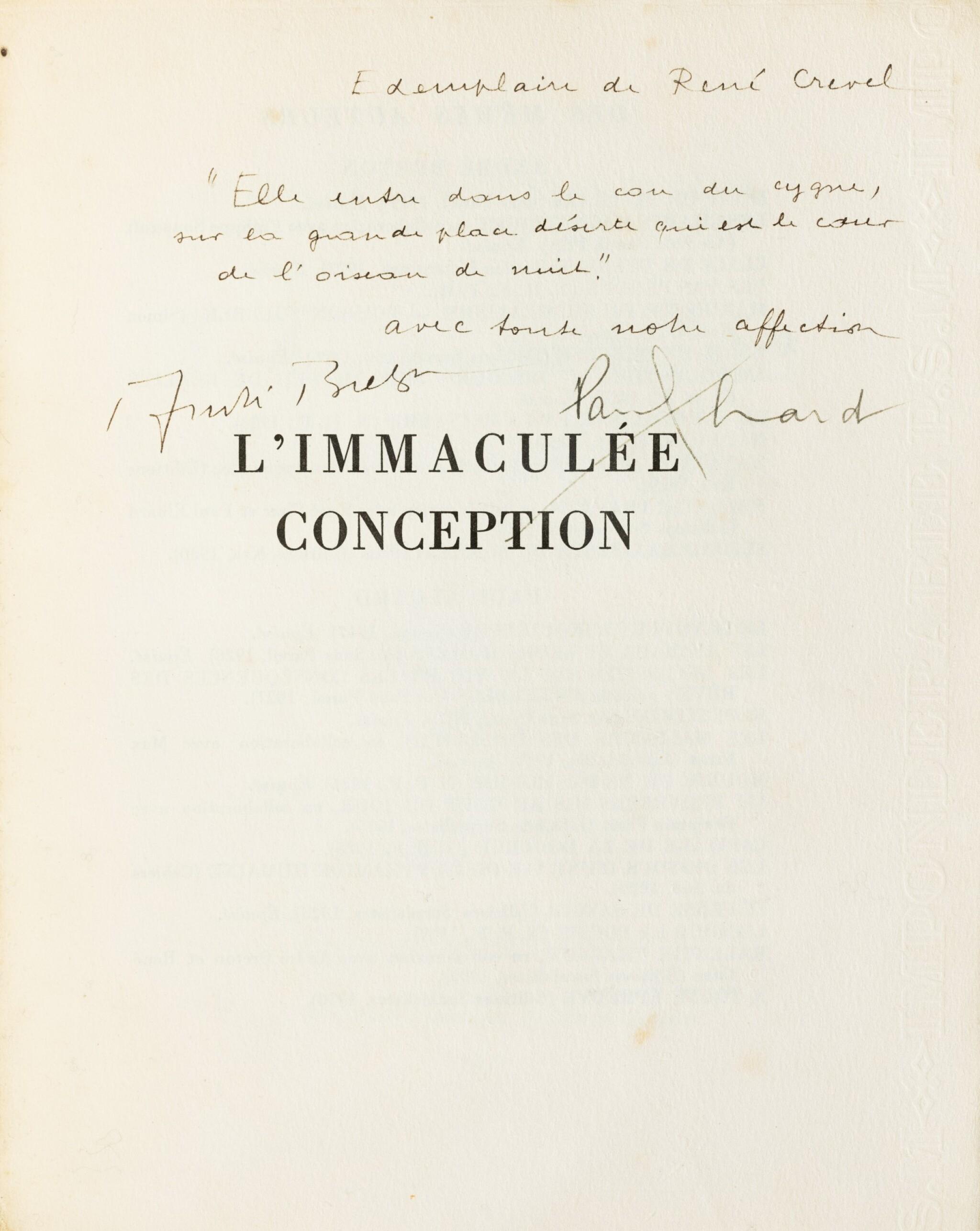 View full screen - View 1 of Lot 219.  L'Immaculée conception. Paris,1930. Ex de René Crevel, broché, chemise et étui.