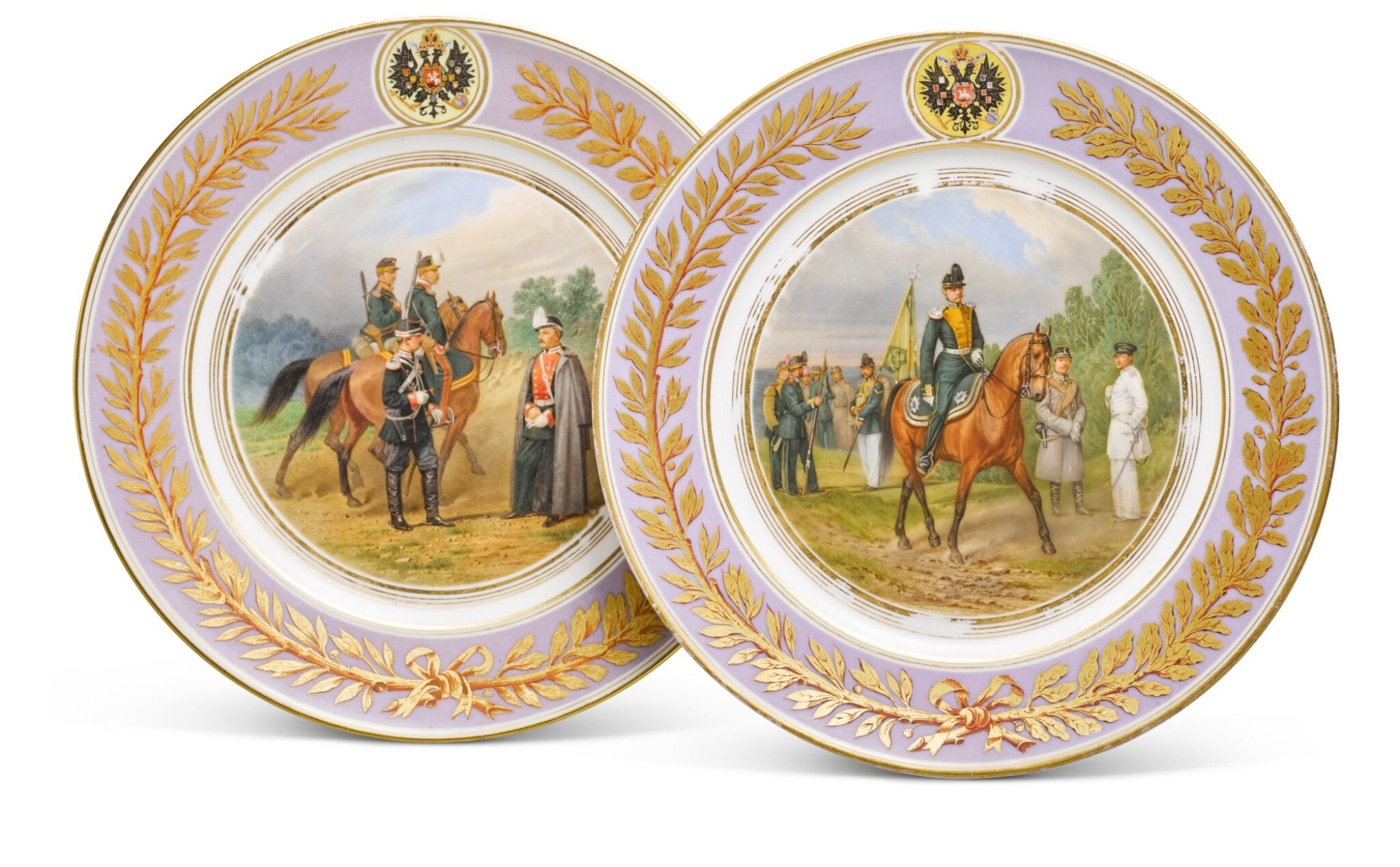 View full screen - View 1 of Lot 107. Two porcelain military plates, Imperial Porcelain Factory, St Petersburg, period of Alexander II, 1875.