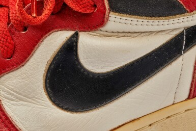View 21. Thumbnail of Lot 1. Michael Jordan's Game Worn 1985 Player Sample Air Jordan 1s | Sizes 13, 13.5.