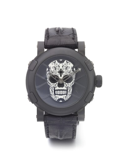 ROMAIN JEROME | DIA DE LOS MUERTOS RECSUCITADO BLANCO Y NEGRO A LIMITED EDITION PVD COATED STAINLESS STEEL AUTOMATIC WRISTWATCH CIRCA 2010