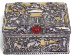 A JEWELLED PARCEL-GILT SILVER TABLE SNUFF BOX, PROBABLY GERMAN, CIRCA 1760