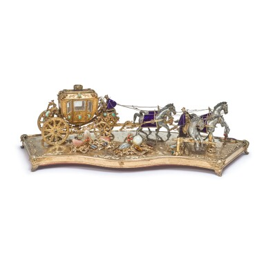 A SILVER, SILVER-GILT, ENAMEL AND GEM-SET CARRIAGE GROUP, PROBABLY HUNGARIAN, MID 20TH CENTURY