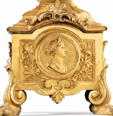 View 3. Thumbnail of Lot 18. A PAIR OF LOUIS XIV GILT-BRONZE FIRE-DOGS   PAIRE DE CHENETS AU MÉDAILLON EN BRONZE DORÉ D'ÉPOQUE LOUIS XIV.