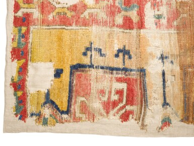 View 2. Thumbnail of Lot 142. West Anatolian carpet fragment, possibly 16th Century.
