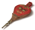 RED-PAINTED AND OIL-GILT-DECORATED BELLOWS, ECKSTEIN AND RICHARDS, PHILADELPHIA, CIRCA 1800