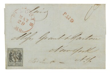 Postmaster's Provisional St. Louis, MO. 1845 10c Black on greenish (11X2)