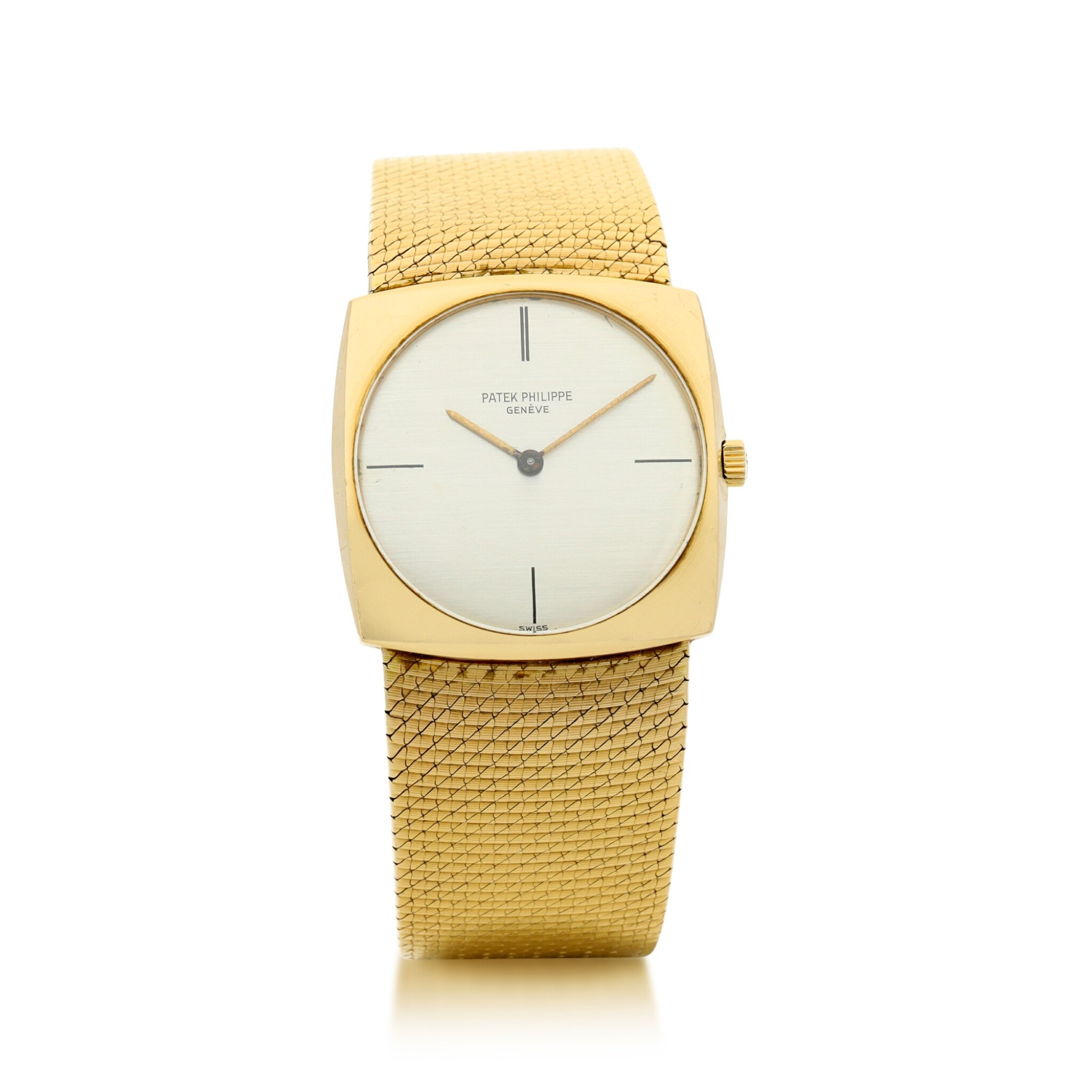 View full screen - View 1 of Lot 56. PATEK PHILIPPE | REFERENCE 3523/1  A YELLOW GOLD SQUARE-SHAPED BRACELET WATCH, MADE IN 1965.