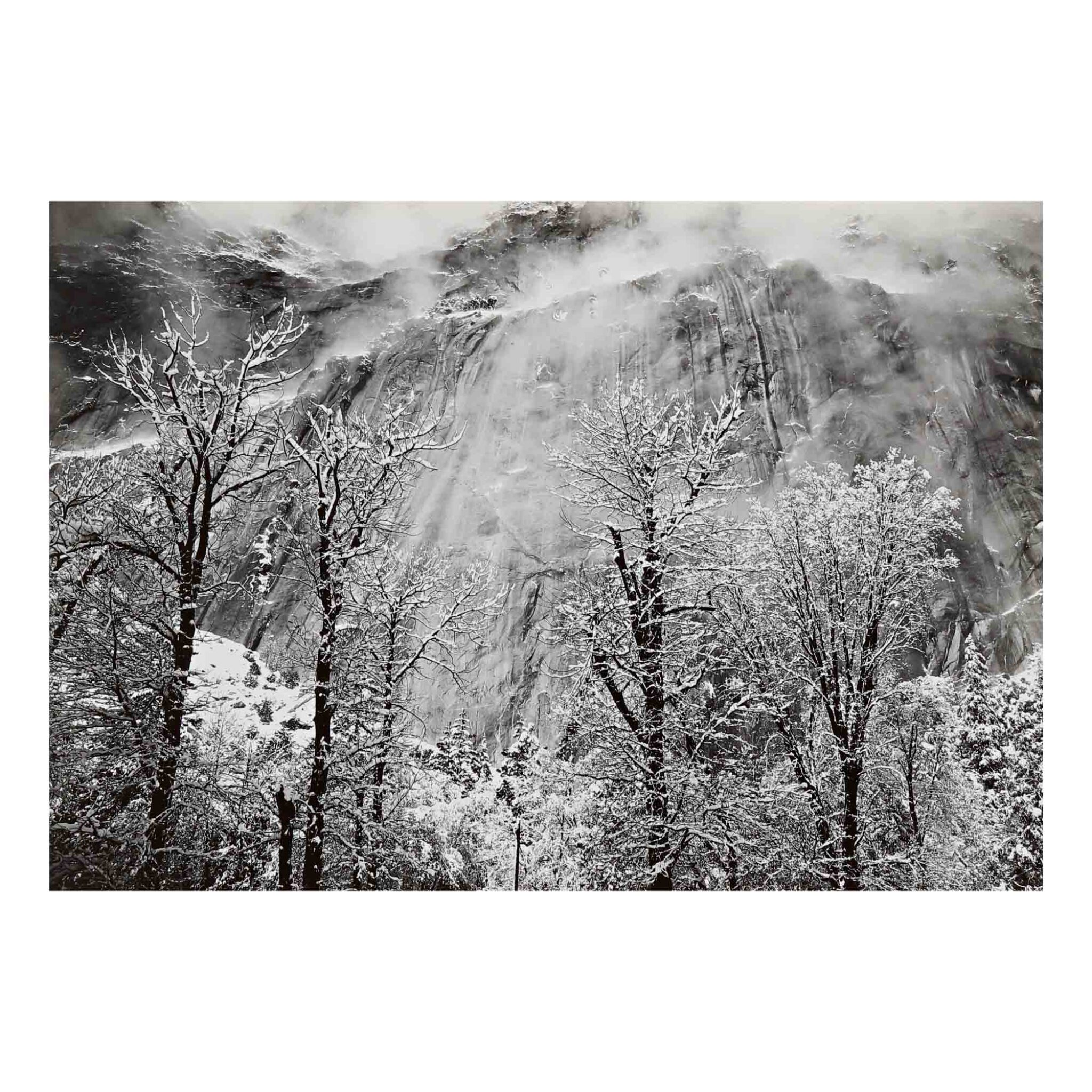 View full screen - View 1 of Lot 85. 'Trees And Cliffs of Eagle Peak, Winter' (horizontal).