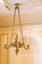 A PAIR OF GEORGE IV GILT-BRASS FOUR-LIGHT CHANDELIERS, CIRCA 1830